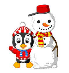 cute penguin and snowman vector image vector image