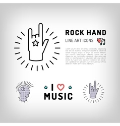 Rock hand sign Punk rock music icons vector image vector image