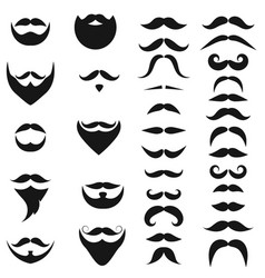 set of black icons of beards and mustaches vector image vector image