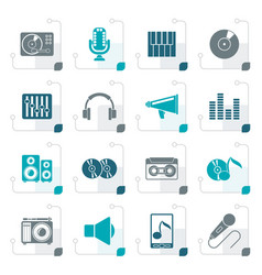 Stylized music and audio equipment icons vector