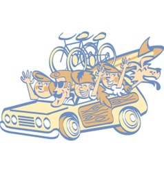 Cartoon family in a car vector image