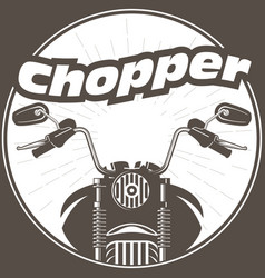 chopper moto handlebar with rear-view mirrors vector image