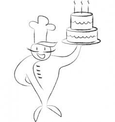 cook with a cake vector image
