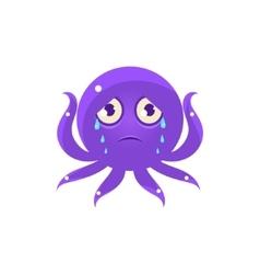Crying funny octopus emoji vector