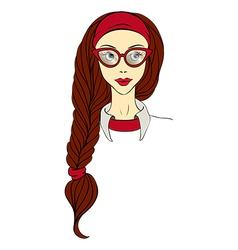 Girl in glasses and with long braid vector image vector image