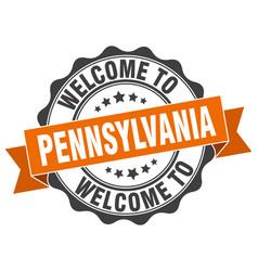 Pennsylvania round ribbon seal vector