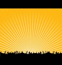 rave crowd silhouette vector image