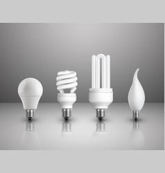Realistic electric lightbulbs set vector