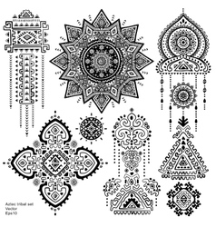 Set of Aztec tribal elements and symbols vector image vector image