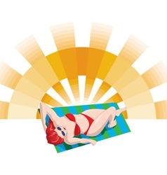 Sunbather Girl Red Bikini vector image vector image