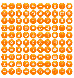 100 summer holidays icons set orange vector image