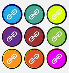 Chain icon sign nine multi colored round buttons vector