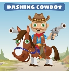 Dashing Cowboy rider on a stallion on a Wild West vector image vector image