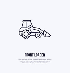 front loader flat line icon transportation vector image