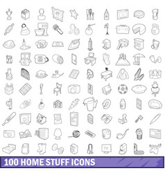 100 home stuff icons set outline style vector image