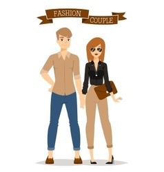 Beautiful cartoon couple fashion clothes vector image vector image
