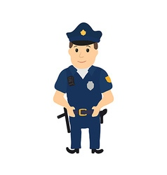 Cartoon policeman character on white background vector image