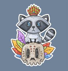 cartoon raccoon sits on the skull vector image