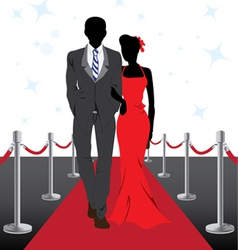 Couple on red carpet vector image