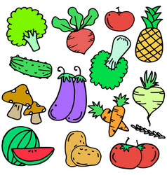 doodle of vegetable object set various vector image vector image