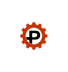 p letter gear logo vector image