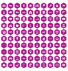 100 car icons hexagon violet vector