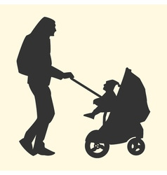 A silhouette of a father with a backpack carries a vector