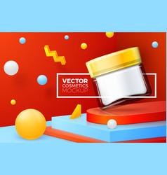 Abstract corner scene glass cosmetics jar vector