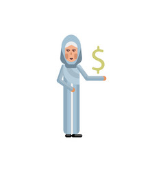 arabic woman with dollar sign in hand vector image