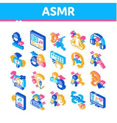 Asmr sound phenomenon isometric icons set vector