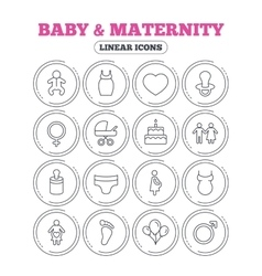 Baby and Maternity line icon Pacifier diapers vector