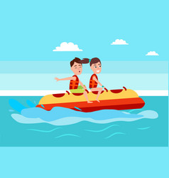 banana boat people summer activity boy and girl vector image