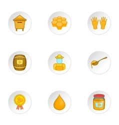 Beekeeping icons set cartoon style vector