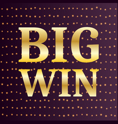 big win luxury gold retro banner template vector image