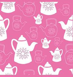 birght pink and white teapots seamless pattern vector image