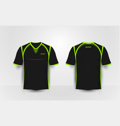 black and green sport football kits t-shirt vector image