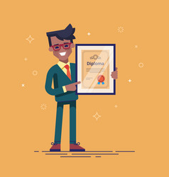 black man holding diploma in his hands vector image