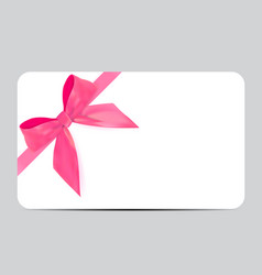 Blank gift card template with pink bow and ribbon vector image yadclub Images