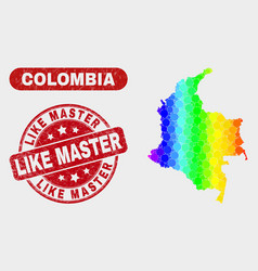 bright mosaic colombia map and grunge like master vector image