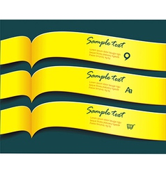 bright yellow banners or ribbons set vector image
