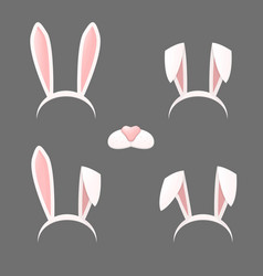 Bunny ears mask set vector