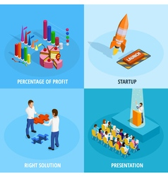 Business Goal Achievement Isometric Concept vector