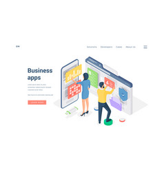 business people browsing modern apps isometric vector image