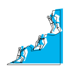 business people trying to climb to the top of rock vector image