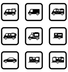 Camper cars set vector