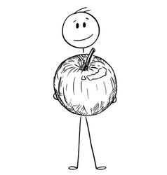 cartoon of smiling man holding big apple fruit vector image