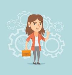 Caucasian businesswoman came up with business idea vector