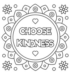 choose kindness coloring page vector image