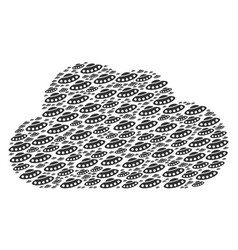 Cloud collage of ufo icons vector