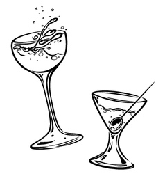 Cocktails glasses vector image vector image